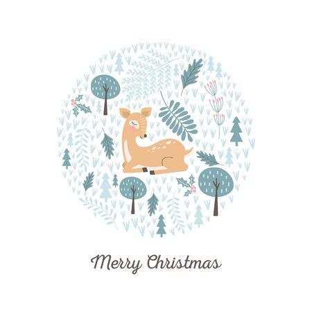 Merry Christmas card with cute deer. Vector illustrations Archivio Fotografico - 131417054