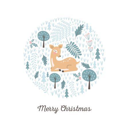 Merry Christmas card with cute deer. Vector illustrations 向量圖像