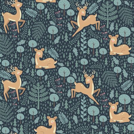 Seamless pattern with christmas deer on a blue background. Vector
