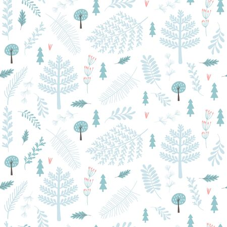 Winter seamless pattern with branch, leaves. Christmas backgrounds. Vector illustrations