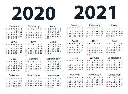 Kalendarz 2020 i Kalendarz 2021 począwszy od niedzieli. Wektor