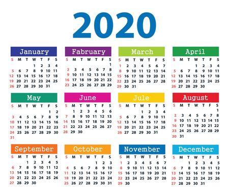 Calendario 2020 a partir del domingo. Ilustración vectorial
