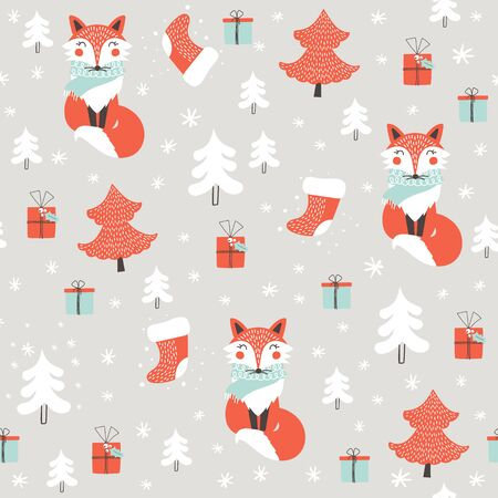 Seamless pattern with cute fox. Childish print. Christmas  background. Vector illustration