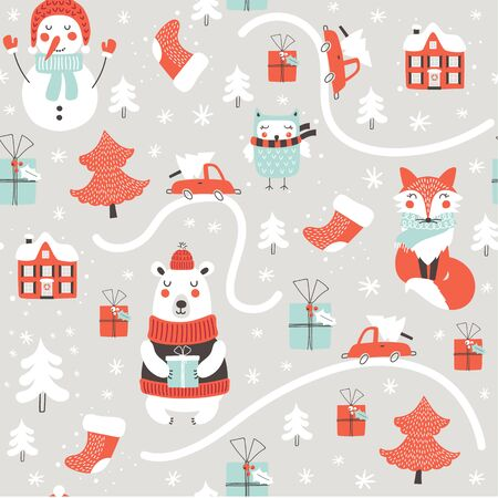 Christmas  seamless pattern with cute animals. Fox, bear and hand drawing elements. Vector illustrations
