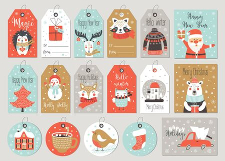 Set of merry christmas tags and cards with hand drawing elements. Vector illustrations