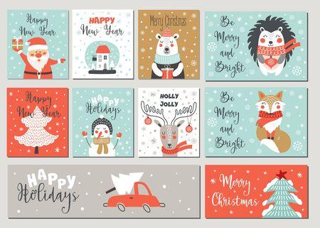 Frohe Weihnachten und ein glückliches neues Jahr Grußkartenset mit Handzeichnungselementen. Vektorillustrationen