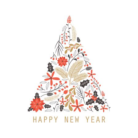 Happy New Year greeting card  with  hand drawing elements. Vector illustration