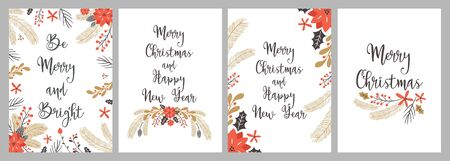 Merry Christmas and Happy New Year greeting card set with  hand drawing elements. Vector illustration