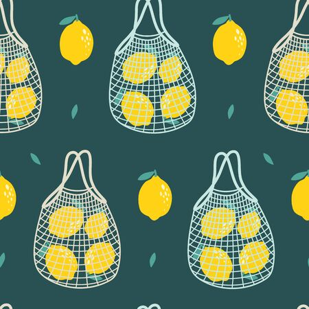 Seamless pattern with lemons and string bag. Vector illustrations 向量圖像