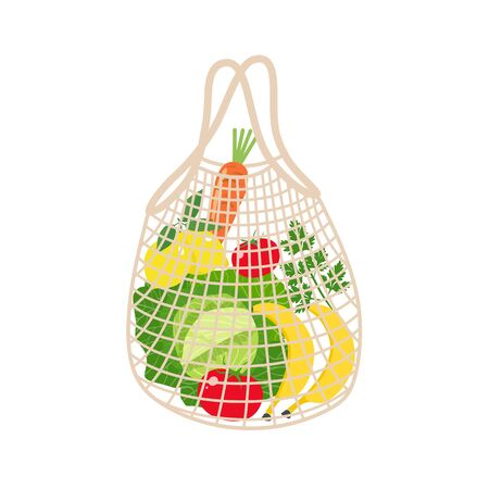 String bag with vegetables and fruits on a white background. Vector illustration Illusztráció