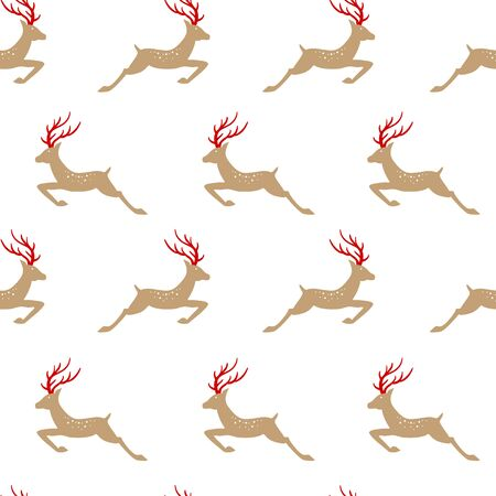 Christmas seamless with deer. Vector illustrations Archivio Fotografico - 132329784