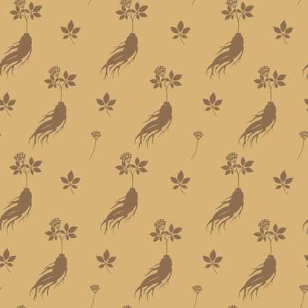Seamless pattern with ginseng  root. Medical plant. Vector illustration. Archivio Fotografico - 132329785