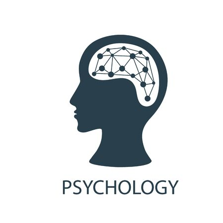 Logo psychologist, psychotherapist, psychotherapy with head profile. Designs concept. Vector illustrations