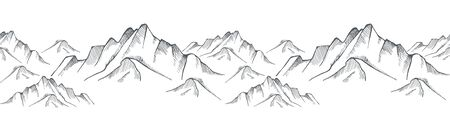 Hand drawn mountain on a white background. Vector illustration