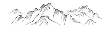 Hand drawn mountain on a white background. Vector illustration  Banque d'images - 132329800