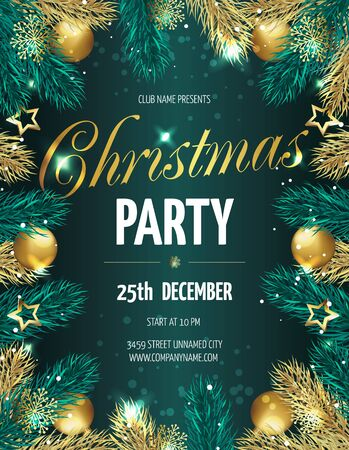 hristmas party poster with fir branches. Vector illustration  10 向量圖像