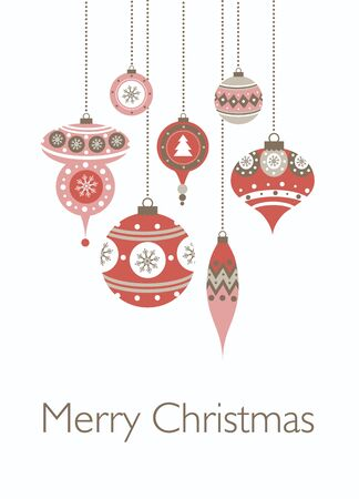 Merry christmas cards with christmas balls. Vector illustration