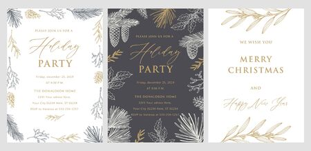 Holiday party invitation. Christmas Greeting Card. Hand drawn vector illustrations