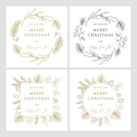 Christmas and new year cards with pine tree branches and cones. Hand drawn vector illustrations