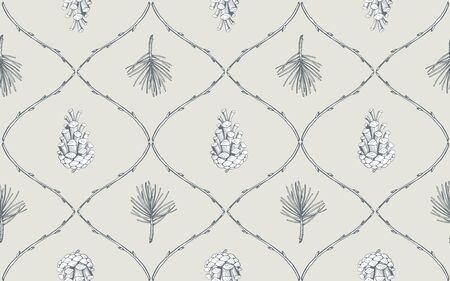 Hand drawn seamless pattern with pine cones and branches. Vector illustration Stock Illustratie