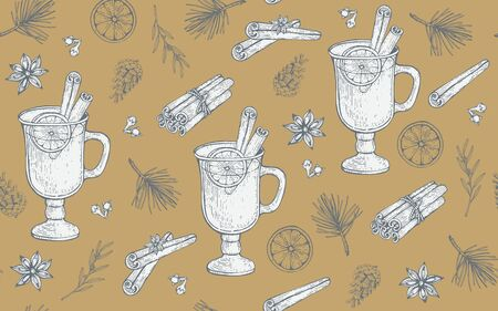 Seamless pattern with glass of Mulled wine, pine cones and branches. Hand-drawn vector illustration. Stock Illustratie
