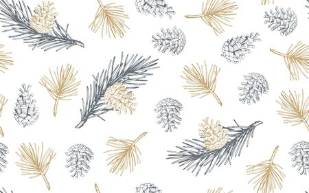 Hand drawn seamless pattern with pine cones and branches. Vector illustration Ilustracja