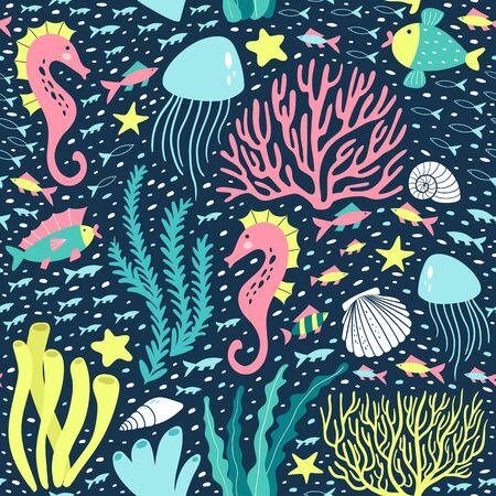 Seamless pattern with seaweed, corals and underwater animals. Vector illustration.