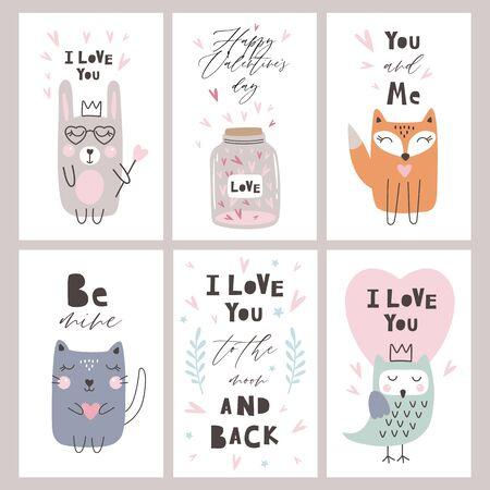Happy Valentines Day greeting card set with hearts and cute animals, vector illustrtation
