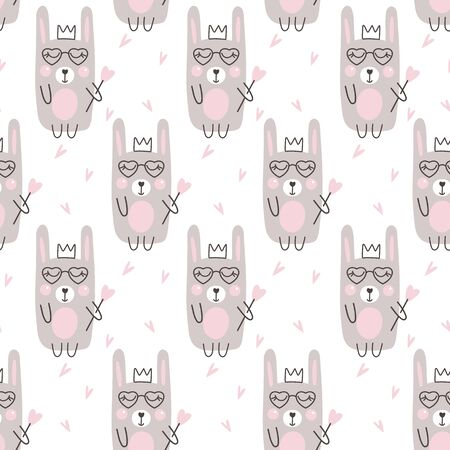 Seamless pattern with cute rabbit and heart. Vector illustrations Ilustracja