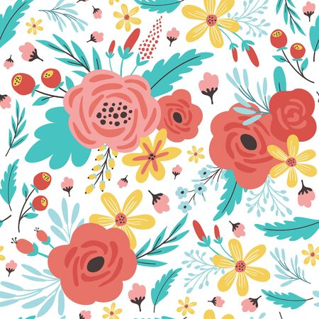 Seamless pattern with flowers. Design for fabric print. Vector illustration