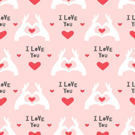 Seamless pattern with hearts. Hands holding a heart. Vector illustration
