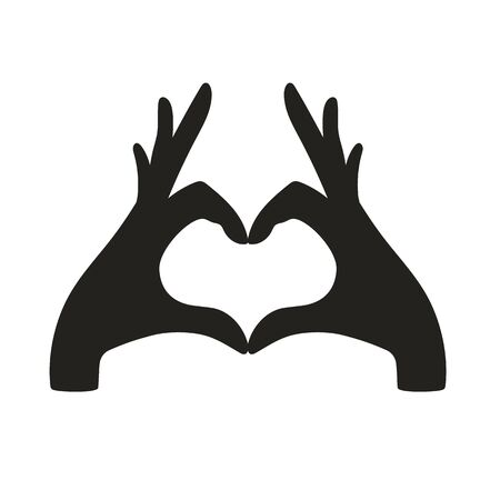 Hands making heart sign on white background. Vector illustration Ilustracja