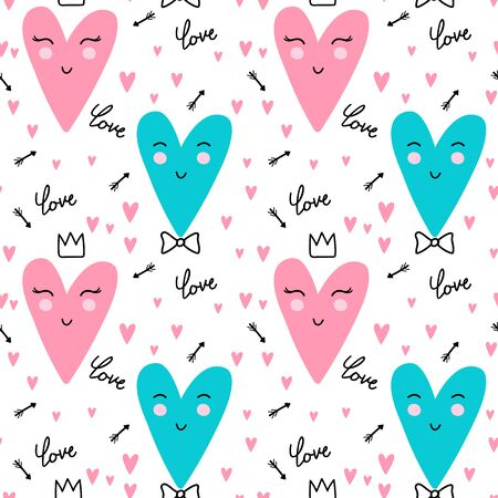 Seamless pattern with heart. Valentines day template background. Vector Illustrations