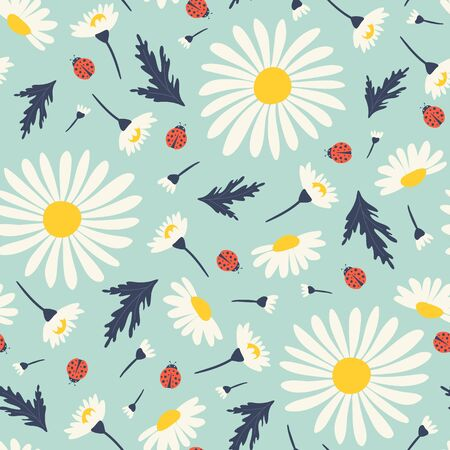 Seamless pattern with chamomiles. Vector illustrations