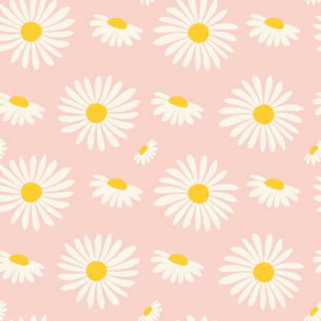 Seamless pattern with chamomiles. Vector Ilustracja