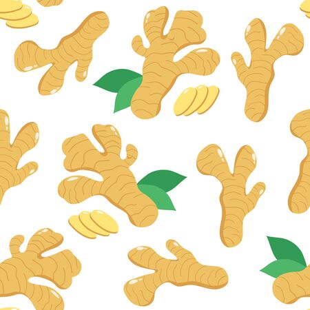 Ginger root and leaveson white background. Vector Illustration Illusztráció