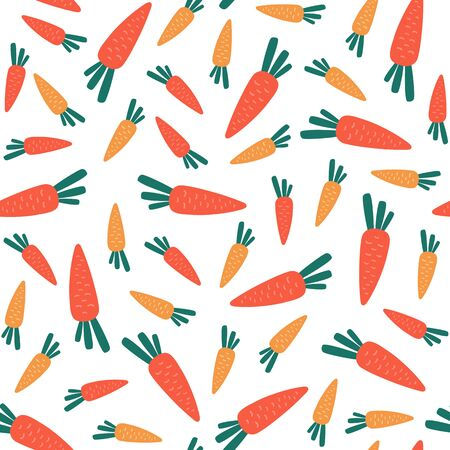 Seamless pattern with carrots on a white background. Vector Illustration