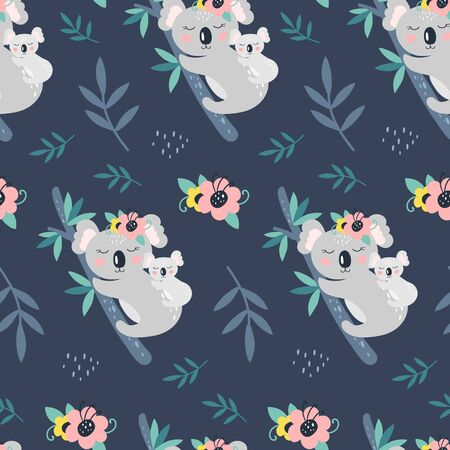 Seamless pattern with cute koala on a blue background. Vector Illustration