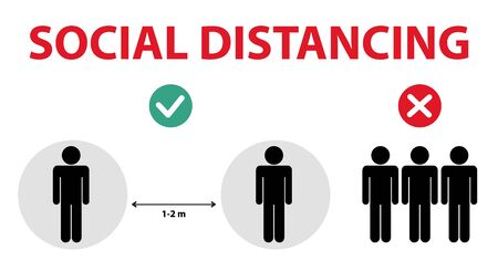 Social distancing,  Keep the 1-2 meter distance in public society people to protect from COVID-19 coronavirus outbreak spreading concept. Vector illustration Illusztráció