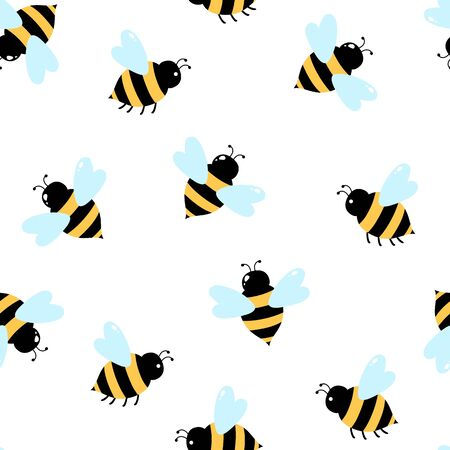 Bee on a white background. Seamless pattern. Vector illustration. Illusztráció