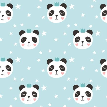 Seamless Pattern with cute panda. Kids print. Vector illustration Illusztráció