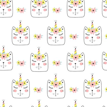 Seamless pattern with cute caticorn. Kids print. Vector illustration Illusztráció