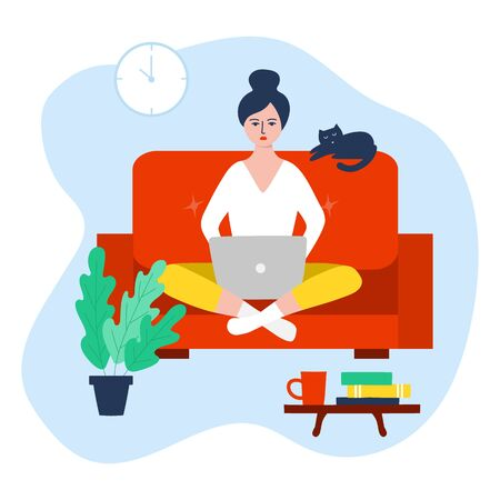 Freelance woman working on laptop at her house. Work at home concept design. Vector illustration Illusztráció