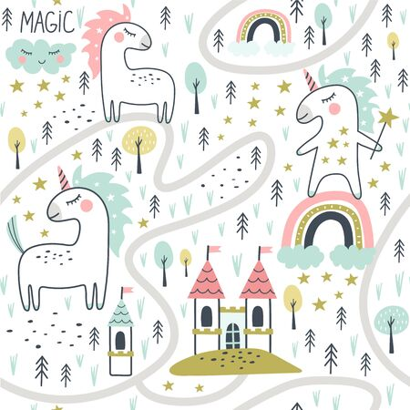 Seamless pattern with cute unicorn and castle. Vector illustration