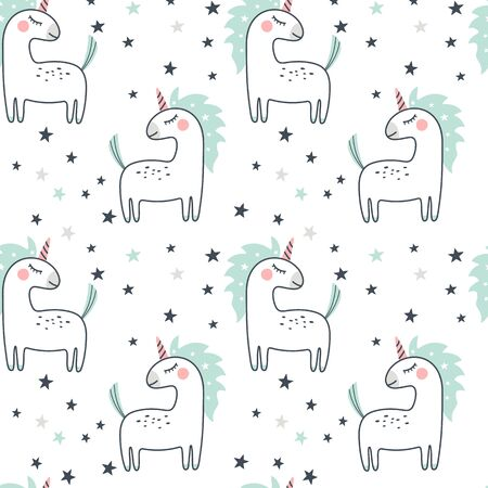 Seamless pattern with cute unicorn and stars. Vector illustration