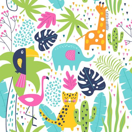 Tropical seamless pattern with toucan, flamingos, tiger, elephant, giraffe, cactuses and exotic leaves. Vector illustration