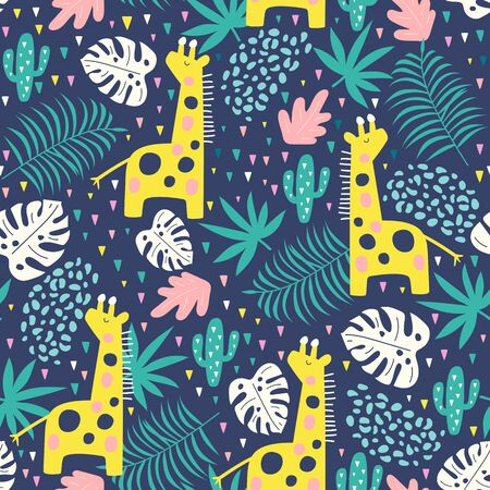 Tropical seamless pattern with giraffe, cactuses and exotic leaves. Vector illustration