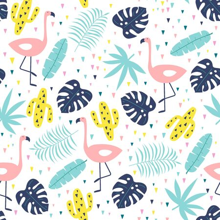 Seamless pattern with cute flamingo, cactuses and exotic leaves. Vector illustration.