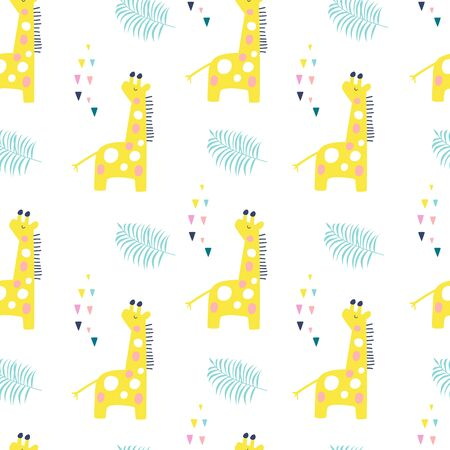 Tropical seamless pattern with giraffe and exotic leaves. Vector illustration Ilustração