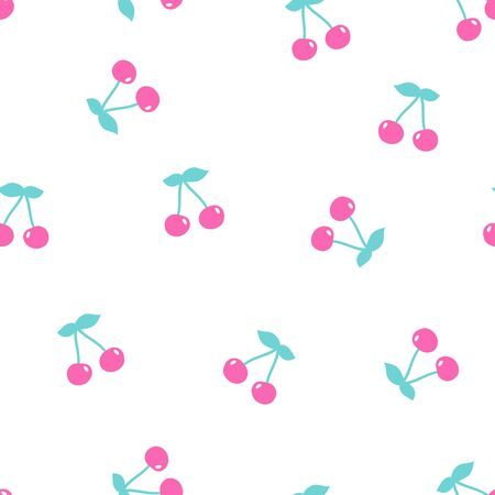 Seamless pattern with cherry on a white background. Vector illustration